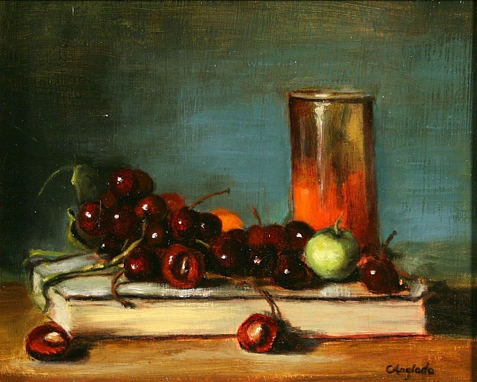 Carla Anglada, LOUIS' GREEN APPLE AND BOOK Oil on Board