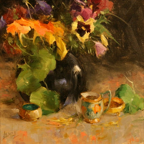 Dorothy Lampl, NASTURTIUMS & PANSIES Oil on Linen