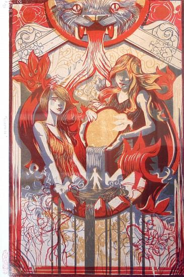 Jeremy Luther, FOUNTAIN Chiaroscuro Woodcut