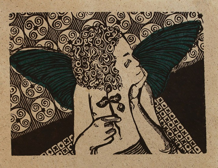 Ginna Dowling, APPRENTICE OF SERENITY III WOODCUT WITH CHINE COLLE AND MULLBERRY