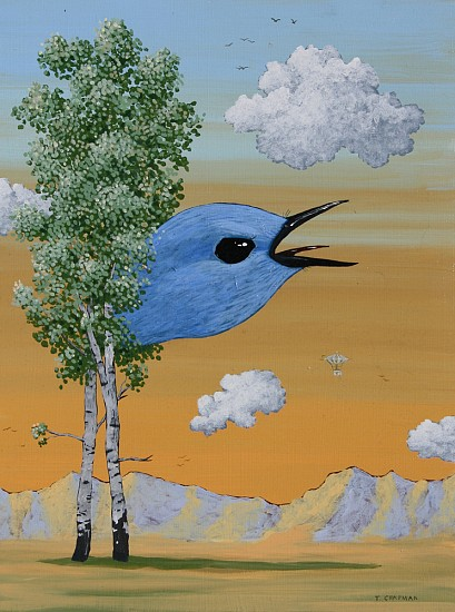 Timothy Chapman, TERRITORY DISPUTE (MOUNTAIN BLUE BIRD) 2014, Acrylic on Panel