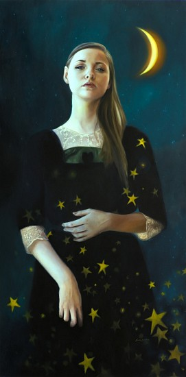 Sara Scribner, HER GLOW AGAINST THE NIGHT SKY Oil on Panel