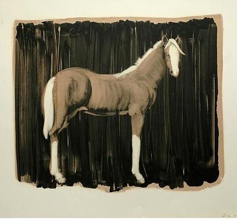 Joe Andoe, TAN HORSE ON BLACK 1989, Monotype