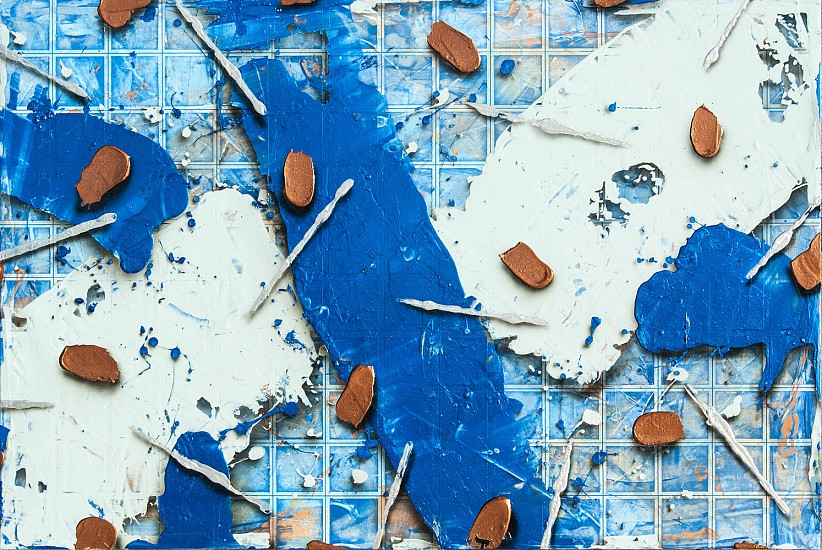 Larry Hefner, DEEP COPPER IN A SEA OF BLUE 2016, Acrylic on Canvas
