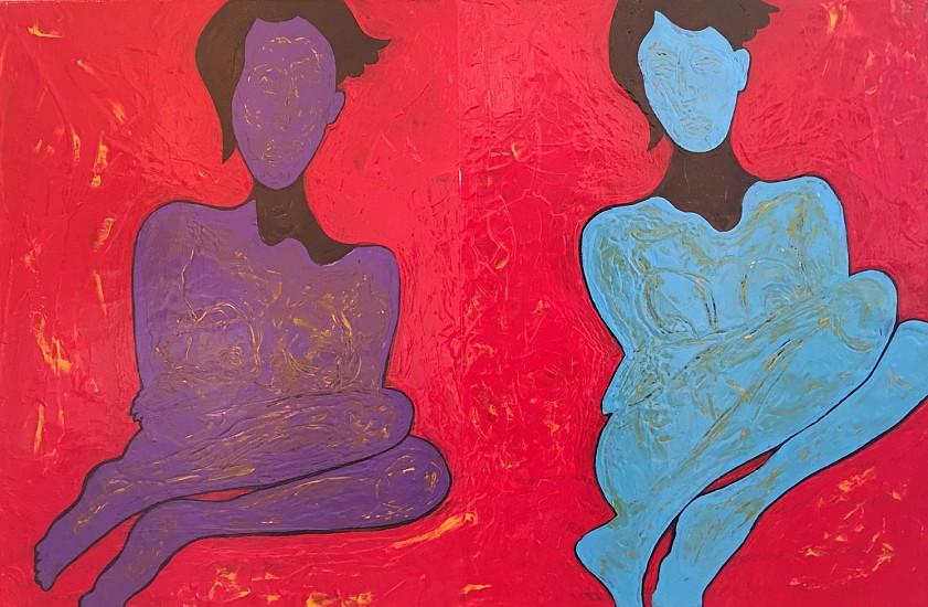 John Brandenburg, PURPLE FIGURE, BLUE FIGURE 2017, Oil on Canvas