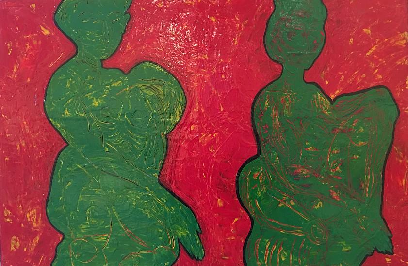 John Brandenburg, SEATED GREEN FIGURES 2017, Acrylic on Canvas