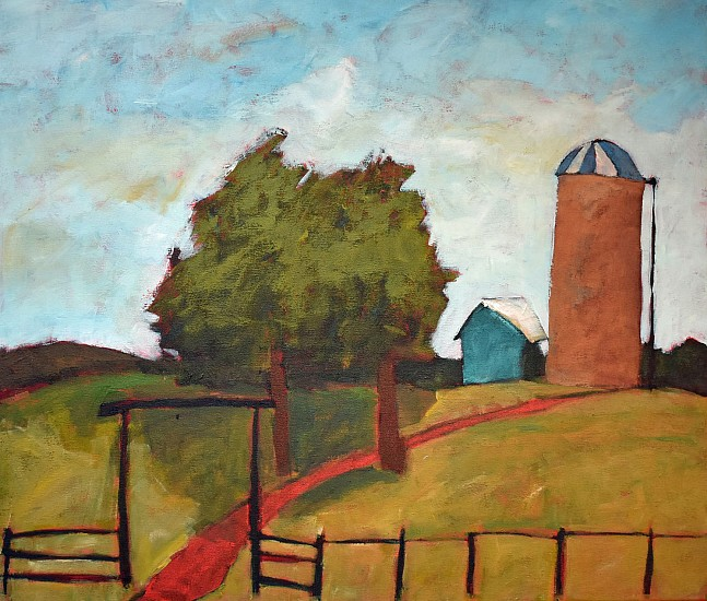 Jim Keffer, GATE WITH SILO 2017, Acrylic on Canvas