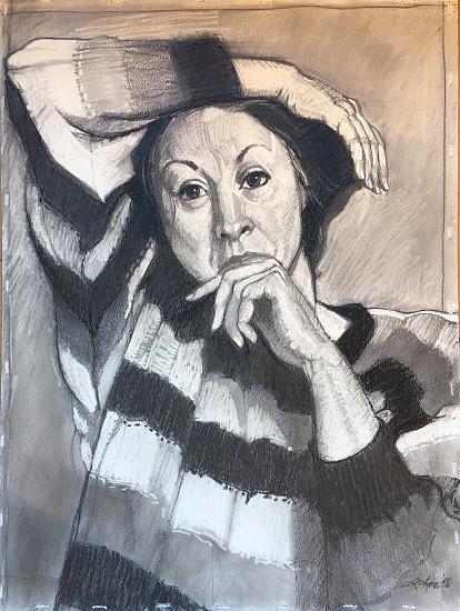 Dee J Lafon, UNTITLED (WOMAN IN STRIPED SWEATER) 1996, Mixed Media
