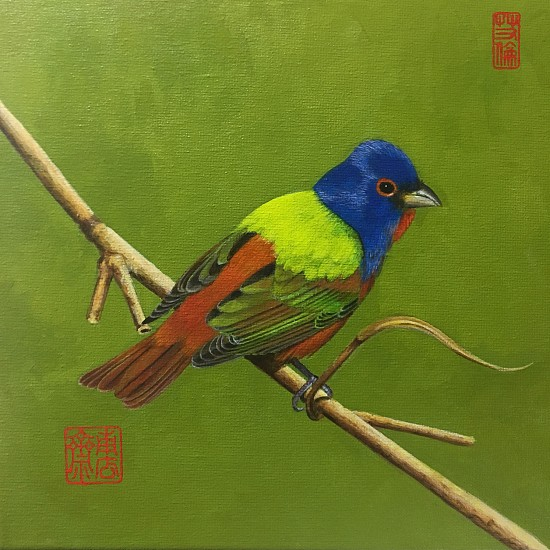 Alan Atkinson, PAINTED BUNTING, LITTLE ST. SIMONS ISLAND Acrylic on Canvas w/ Impressed Seals