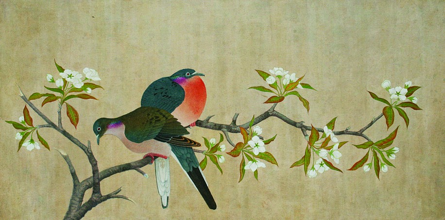 Alan Atkinson, PASSENGER PIGEONS ON A PEAR TREE, IN THE MANNER OF QIAN XUAN (1235-1305) Acrylic on Canvas w/ Impressed Seals